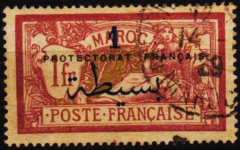Morocco(French). 1914 1p on 1f  S.G.54 Fine Used