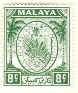 MALAYA Negri Sembilan Scott 45  MH* coat of arms stamp, Palm Trees