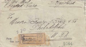 1927, Baghdad, Iraq to Philadelphia, PA, Registered, See Remark (32120)