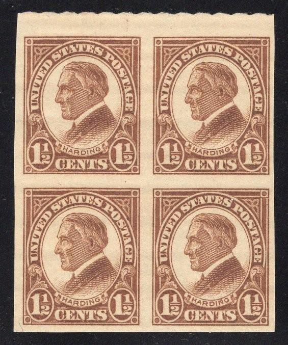 US#631 Yellow Brown - Top Block of 4 - Mint - O.G. - N.H.