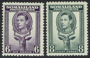 SOMALILAND PROTECTORATE 1938 KGVI BUCK 6A AND 8A MNH **