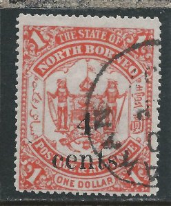 NORTH BORNEO 1904-05 4c on $1 SCARLET FU SG 154 CAT £48