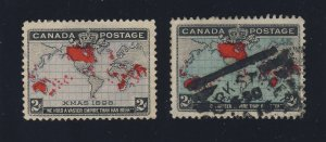 2x Canada 1898 Xmas Map Stamps #85 MNG F/VF #86 Used F/VF Guide Value = $50.00