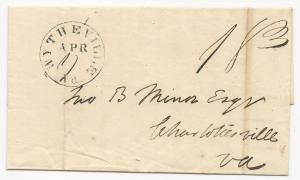 VA Stampless Cover Wythevill Black CDS April 4, 1844