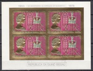 Guinea Bissau, Scott cat. 391 F. Queen`s 25th Anniv, IMPERF GOLD sheet of 4. ^