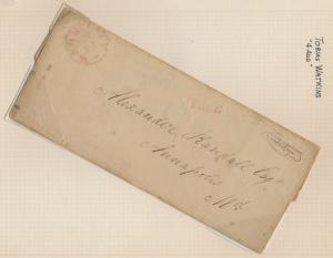 TOBIAS WATKINS 4 AUD ON STAMPLESS FOLDED LETTER TO ANNAPOLIS, MD BR3230