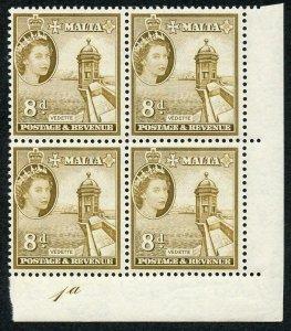 Malta SG275 8d Bistre-brown Plate 1a U/M Block