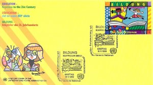 1999 UN FDC, Vienna #266-267, Education, UN cachet (2)
