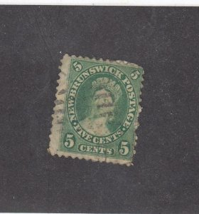NEW BRUNSWICK (MK3940) # 8 F-USED 5cts QUEEN VICTORIA /MAY 1860 /YELLOW GREEN