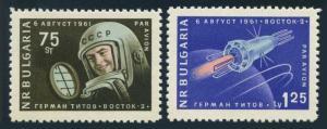 Bulgaria C84-C85,MNH.Michel 1279-1280. Vostok 2,1961.Gherman Titov.