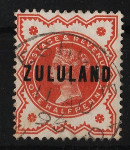 Zululand 1888/1893 Ovpt over Great Britain QV stamps 1/2p (1/10) USED