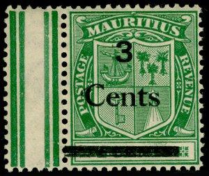 MAURITIUS SG242, 3c on 4c Green, UNMOUNTED MINT MARGINAL.