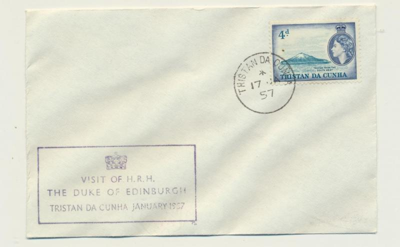 TRISTAN DA CUNHA 1957 VISIT OF DUKE OF EDINBURGH COVER, 4d RATE (SEE BELOW