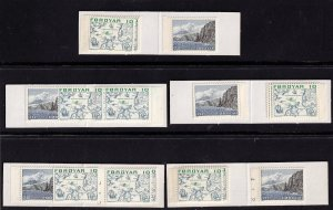 Faroe Island  - 1975 - 5 bklts  MNH  SCARCE 2kr Booklets types