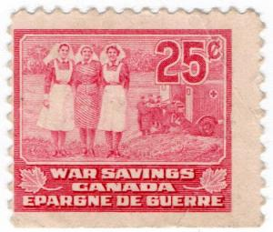 (I.B) Canada Revenue : War Savings Stamp 25c  (Nurses)