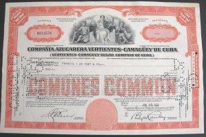 1952 Cuba Sugar Company Stock Certificate  Vertientes Camaguey