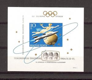 Hungary, 1618, Russian Space Flight Imperf S/S (1),**H**