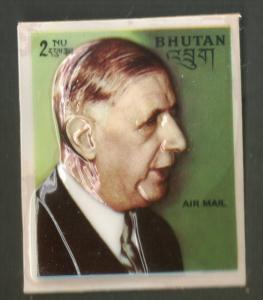 Bhutan 1972 De Gaulle President of the French Republic Plastic Moulded Sc 145...