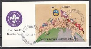 St. Vincent, Scott cat. 1549. Scout Jamboree s/sheet. First day cover. ^