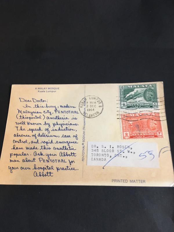 Malaya Selangor (#103 & 106) Pay Postage to Canada on 1964 Printed Matter View