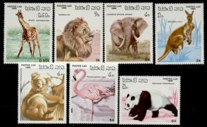 Laos 707-13 MNH Animals, Panda, Elephant, Flamingo, Kangaroo, Koala