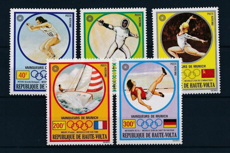 [61141] Burkina Faso Upper Volta 1972 Olympic games Munich Fencing Sailing MNH