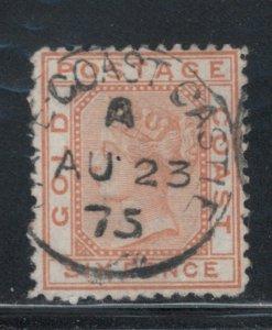 Gold Coast 1875 Queen Victoria 6p Scott # 3 Used SON