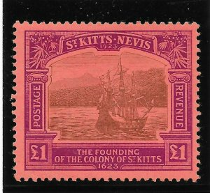 ST.KITTS-NEVIS SG60 1923 TERCENTENARY 1 BLACK & PURPLE ON RED MTD MINT