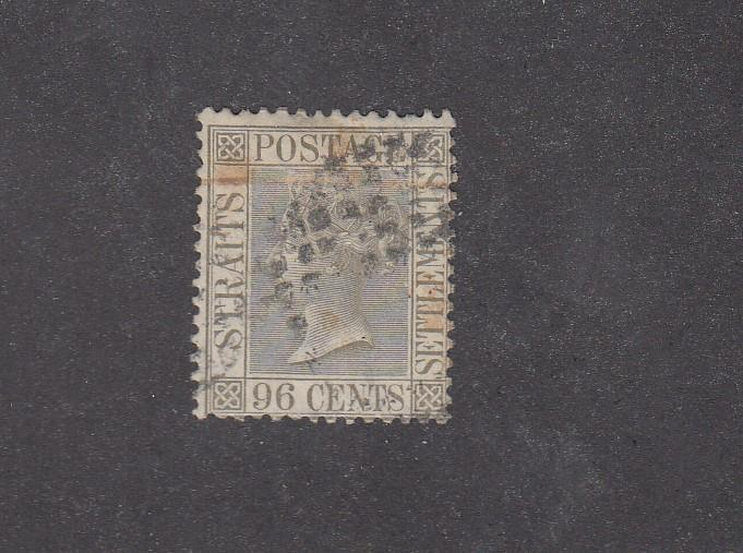STRAITS SETTLEMENTS # 18 Q/VICTORIA 96cts WMK 1 LIGHT USED CAT VALUE $55+