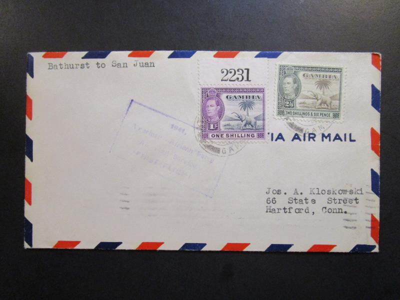 Gambia 1942 First Flight Cover to San Juan - Z6333