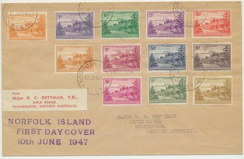 NORFOLK IS 1947 SET FIRST DAY COVER TO AUSTRALIA