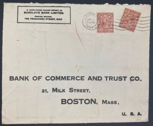 1927 London England Barkley's Bank Commercial Cover To Boston MA Usa