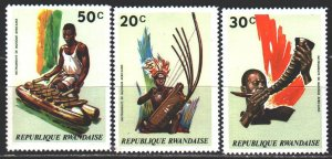 Rwanda. 1973. 558-60 from the series. Folk musical instruments. MNH.