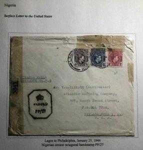 1944 Lagos Nigeria Censored Cover To Atlantic Refining Co Philadelphia Pa USA