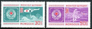 Mongolia 532-533, MNH. Mongolian Red Cross, 30th ann. Emblem,Helicopter,Car,1969