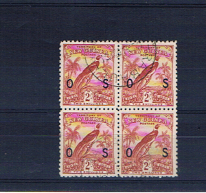NEW GUINEA 1931 2/- DATED BIRD BLOCK OF FOUR
