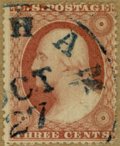 US Scott#25 1857 type I 3c Washington, blue cancel, no faults