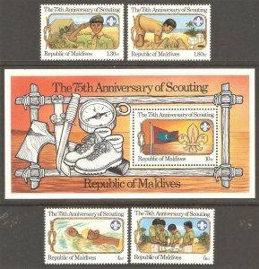 MALDIVE ISLANDS Sc# 956 - 960 MNH FVF Set-4+SS Scouts