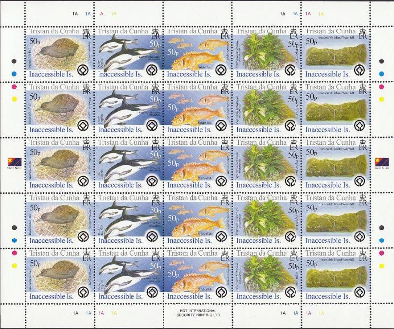 Tristan da Cunha Birds Fish Marine Life Plants Inaccessible Island Full Sheet of