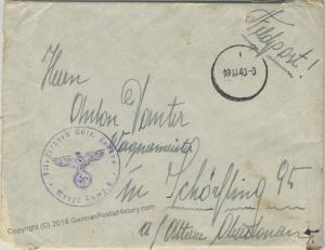 Germany WWII Krosno Poland Luftwaffe Feldpost OkW Censor 46672