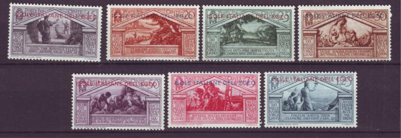 J21636 Jlstamps 1930 italy aegean islands part of set mh #3-9 ovpt,s