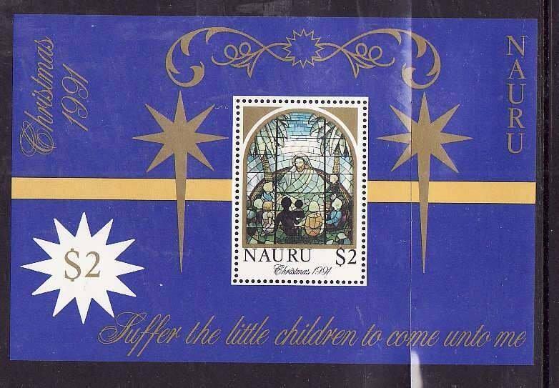 Nauru-Sc#395-Unused NH sheet-Christmas-1991-