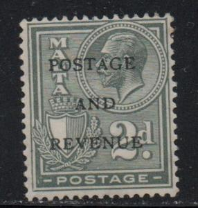 Malta Sc 154 1928 2d G V Postage & Revenue overprint stamp mint