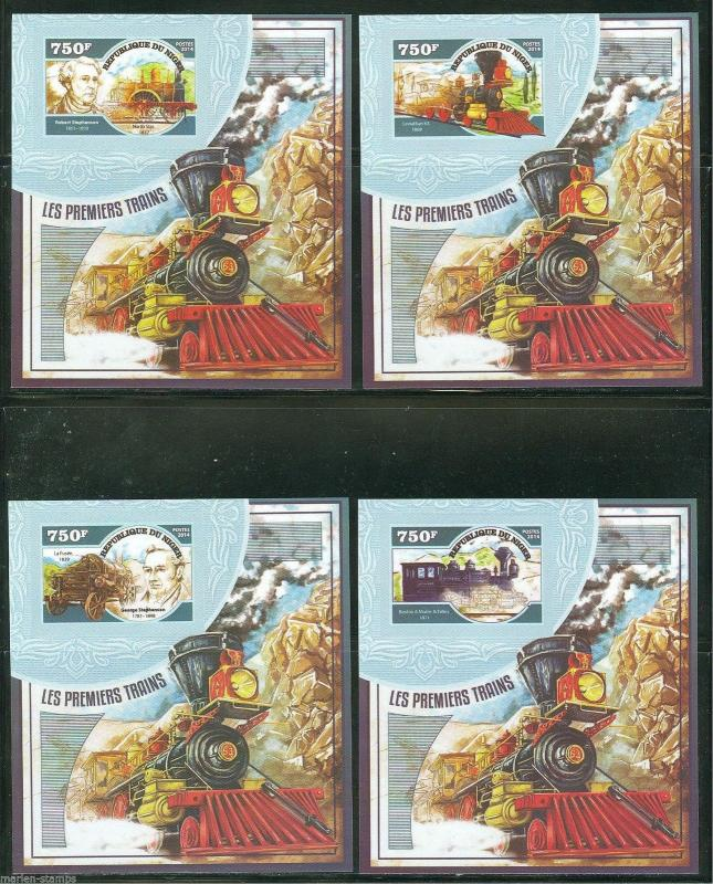 NIGER 2015 STEAM TRAINS  SET OF FOUR DELUXE SOUVENIR SHEETS MINT NH