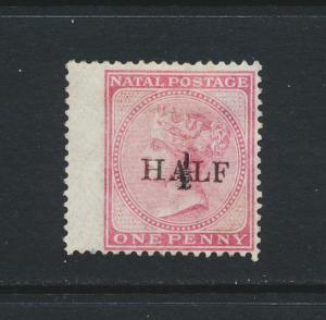 NATAL SOUTH AFRICA 1877, ½d on 1d, VF MINT SG#87 CAT£150 $192 (SEE BELOW