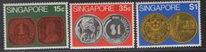 SINGAPORE 150-152 MINT HINGED, COINS SET 1972