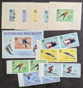 EDW1949SELL : MALAGASY 1976 Sc #538-40, C149-51 Olympics Scarce set Imperf pairs