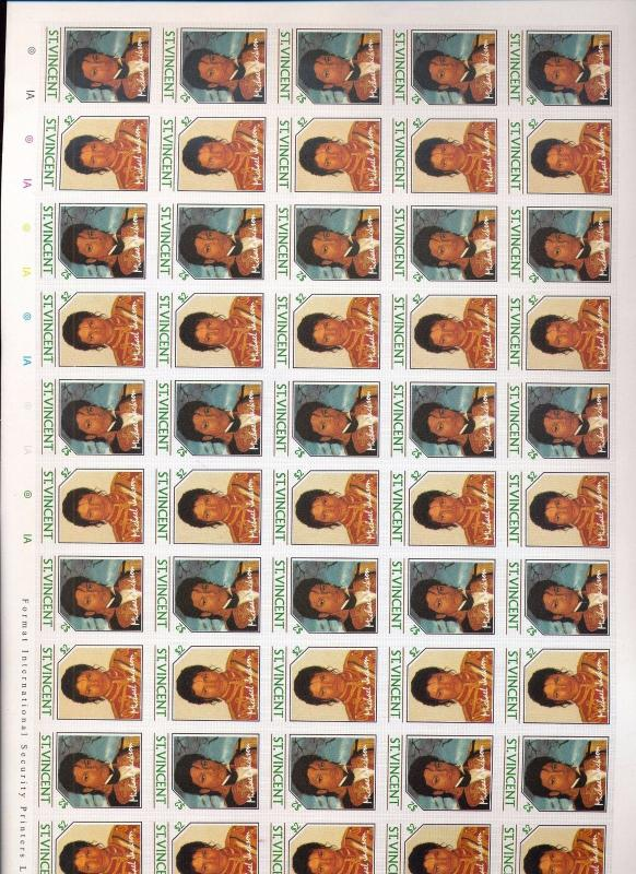 St Vincent 1985 Michael Jackson Imperf Inverted Country Sheet MNH (You 976