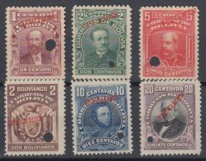 Bolivia 1901-02 Complete Set with Specimen overprint. MNH. Scott 70-76var
