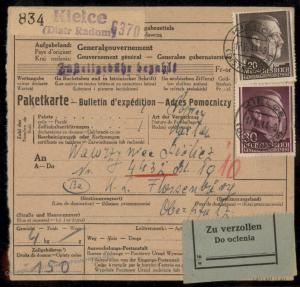 Germany GGov Poland Concentration Camp KL Floessenbuerg Package Card 79476